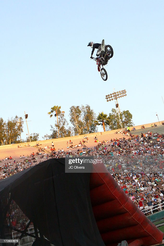 Freestyle Motorcross rider performs a trick during Americafest 2013, 87th Annual Fourth of July Celebration at Rose Bowl on July 4, 2013 in Pasadena, California.