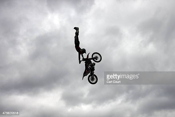 Freestyle motorcross rider Steve Sommerfeld performs a jump during a photocall for the Night of the Jumps Freestyle MX World Championship event on...