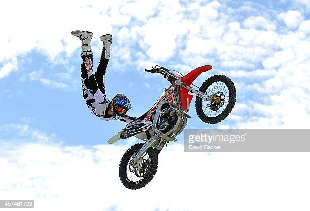 Freestyle rider James Carter performs during a qualifying round for the Dirt Shark Biggest Whip at the Monster Energy Cup at Sam Boyd Stadium on...