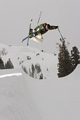 Freestyle Skier in a Halfpipe