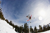 Freestyle Skier Performing an Aerial