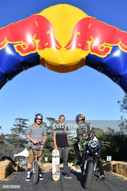 BMX Freestyle star Mike 'Hucker' Clark professional skateboarder Joey Brezinski and Red Bull street freestyle motorsport athlete Aaron Colton...