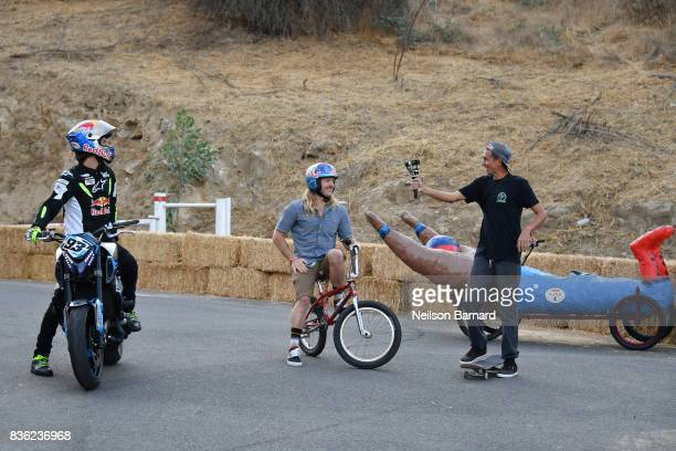 Freestyle star Mike 'Hucker' Clark professional skateboarder Joey Brezinski and Red Bull street freestyle motorsport athlete Aaron Colton participate...