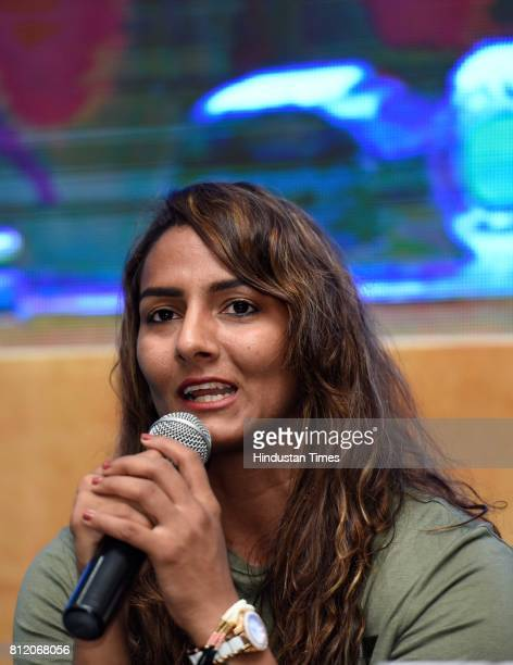 Freestyle wrestler Geeta Phogat talks at the press conference on July 10 2017 in New Delhi India Taxpayers Association of Bharat announced its...