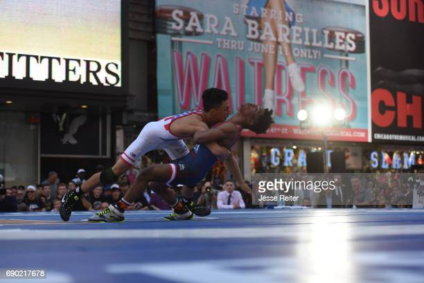 Beat The Streets Gala Titan Mercury Wrestling Club Jonathan Prata in action vs BTS New York Brandon Nunez during Youth 99 lbs match in Duffy Square...
