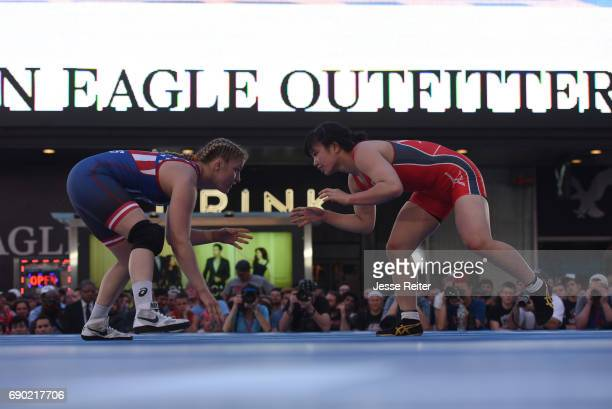 Beat The Streets Gala USA Helen Maroulis vs Japan Yuzuru Kumano during Women's Freestyle 58 Kg match in Duffy Square at Times Square East Meets West...