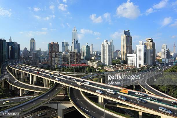 Freeway interchange, City life background.