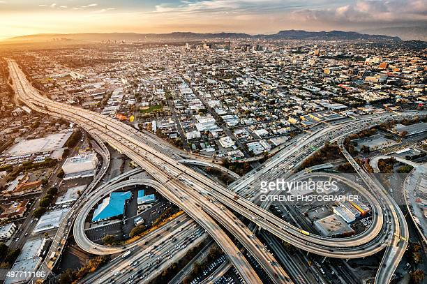 Freeway interchanges at dusk