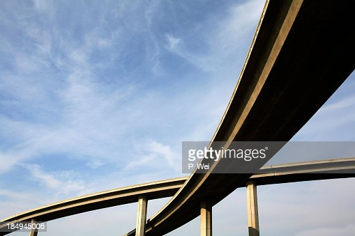 Freeway span from below view with the sky