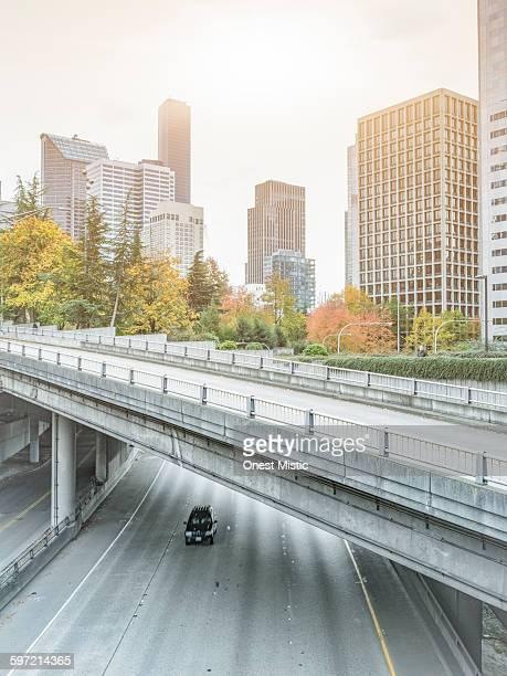 I-5 freeway through downtown Seattle