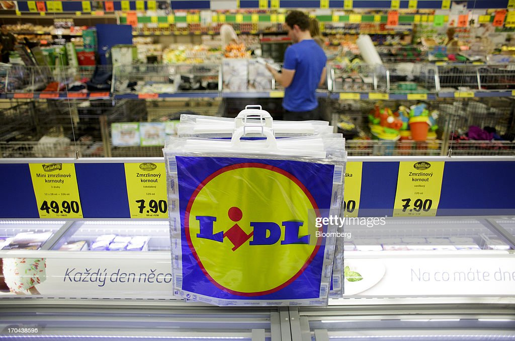 Freezer bags hang above a frozen food counter inside a Lidl discount supermarket store, operated by Schwarz Group, in Prague, Czech Republic, on Thursday, June 13, 2013. Ahold and Tesco are tied as the Czech Republic's third-largest grocer by revenue behind Lidl discount store owner Schwarz Group and Rewe AV, which owns the Billa supermarkets, according to Krakow, Poland-based market researcher PMR. Photographer: Martin Divisek/Bloomberg via Getty Images