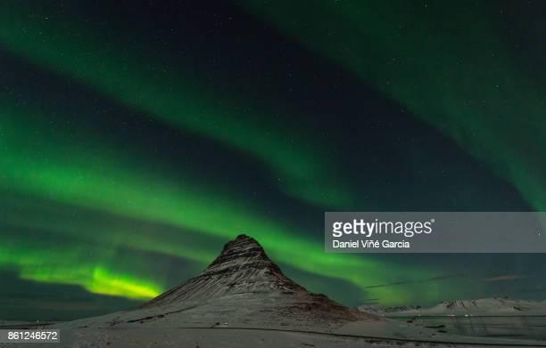 Freezing Kirkjufell and Aurora Storm at kp6