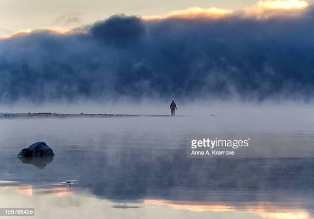 freezing lake Mjøsa, - 25 C degree