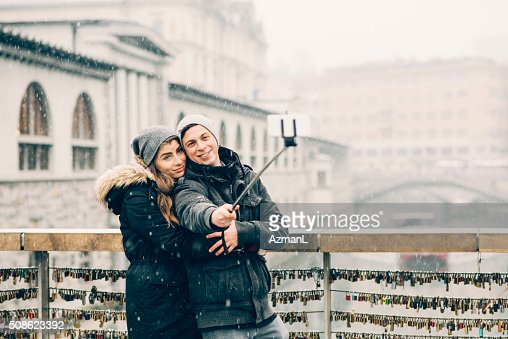Freezing time with mobile phone : Stock Photo