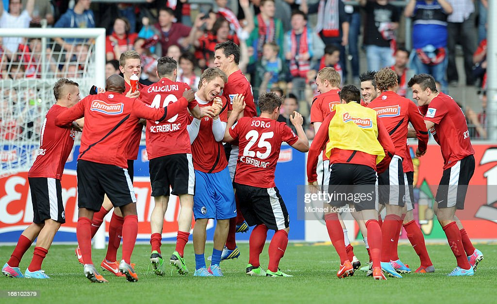 Freiburg players celebrate after the Bundesliga match between SC Freiburg and FC Augsburg at MAGE SOLAR Stadium on May 5, 2013 in Freiburg, Germany.