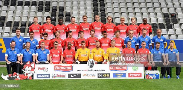 Freiburg Team Presentation at MAGE SOLAR Stadium on July 5 2013 in Freiburg Germany Third row Immanuel Hoehn Mensur Mujdza Fallou Diagne Sebastian...
