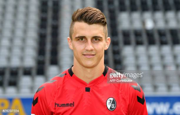 SC Freiburg's defender Marc Oliver Kempf poses during a team presentation of the German first division Bundesliga football team SC Freiburg in...