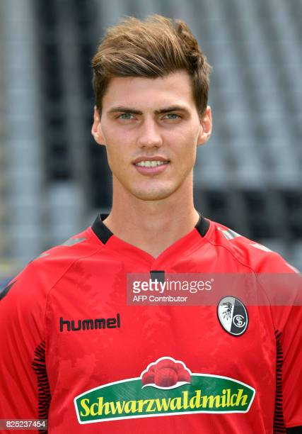 SC Freiburg's defender Pascal Stenzel poses during a team presentation of the German first division Bundesliga football team SC Freiburg in Freiburg...