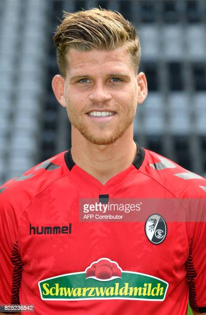 SC Freiburg's forward Florian Niederlechner poses during a team presentation of the German first division Bundesliga football team SC Freiburg in...