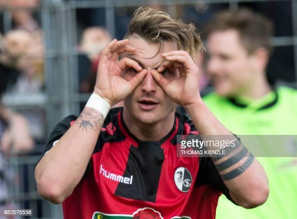 Freiburg's forward Maximilian Philipp celebrates after he scored during the German First division Bundesliga football match of SC Freiburg vs TSG...