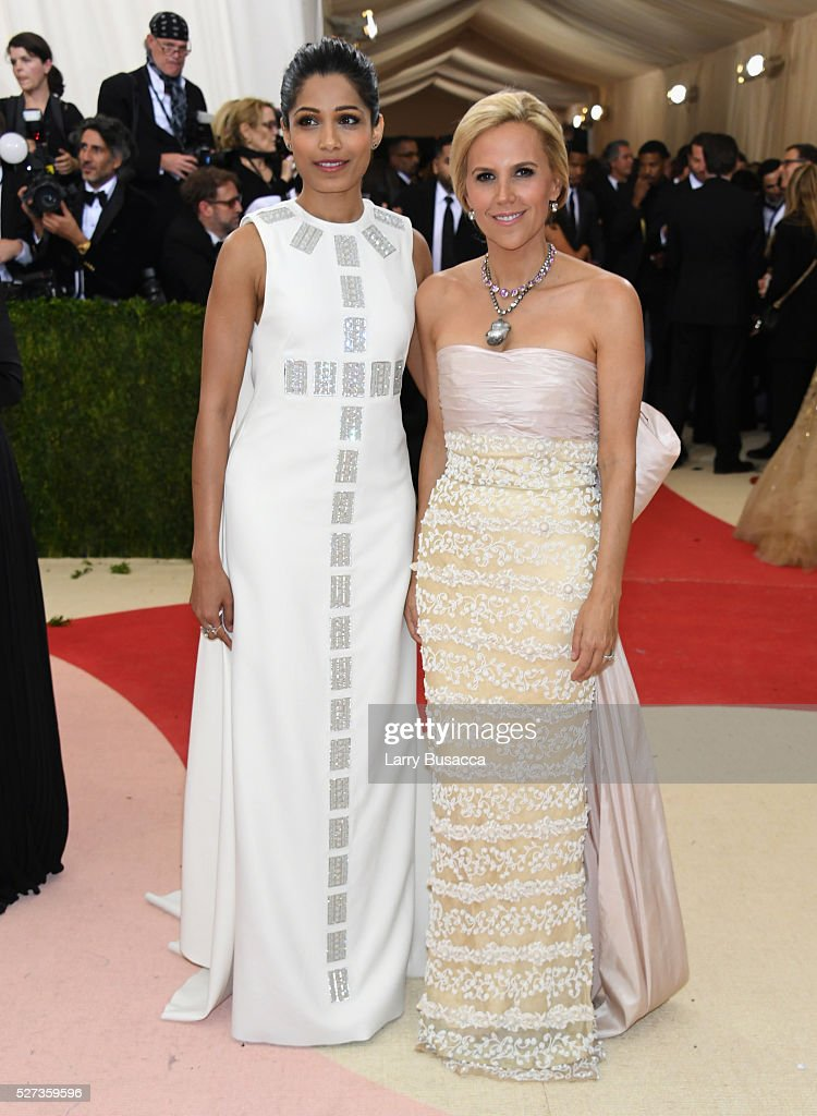 Freida Pinto (L) and designer Tory Burch attend the 'Manus x Machina: Fashion In An Age Of Technology' Costume Institute Gala at Metropolitan Museum of Art on May 2, 2016 in New York City.
