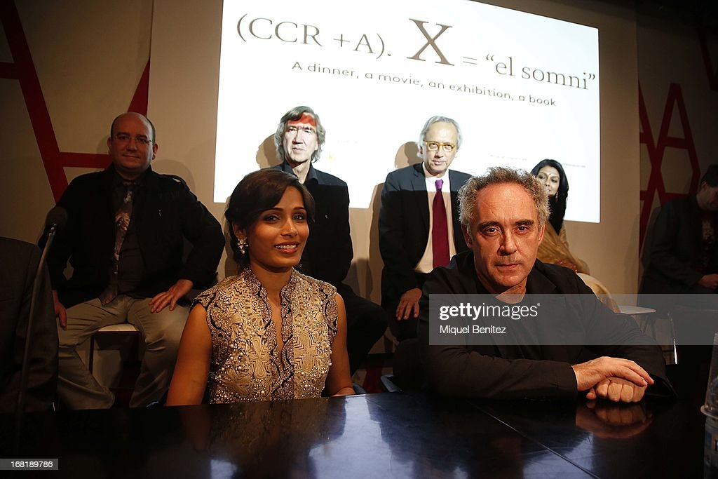 Freida Pinto and Ferran Adria attend 'El Somni', 'The Dream' Gastronimic Opera Performance on May 6, 2013 in Barcelona, Spain.