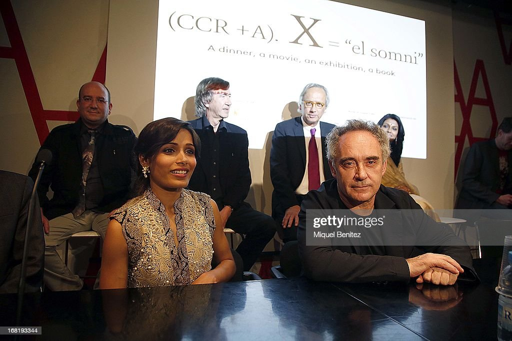 <a gi-track='captionPersonalityLinkClicked' href=/galleries/search?phrase=Freida+Pinto&family=editorial&specificpeople=5518973 ng-click='$event.stopPropagation()'>Freida Pinto</a> and Ferran Adria attend 'El Somni', 'The Dream' Gastronimic Opera Performance on May 6, 2013 in Barcelona, Spain.