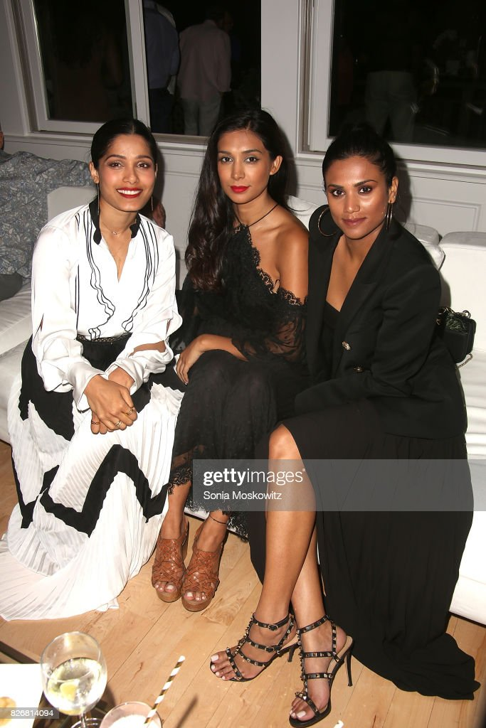 Freida Pinto and friends attend the Women's Health:Party Under the Stars Benefit for The Feed Foundation at The Bridgehampton Tennis & Surf Club on August 5, 2017 in Bridgehampton, New York.