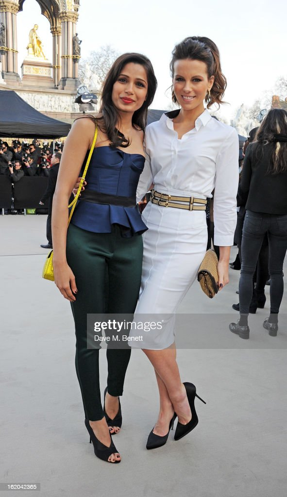 <a gi-track='captionPersonalityLinkClicked' href=/galleries/search?phrase=Freida+Pinto&family=editorial&specificpeople=5518973 ng-click='$event.stopPropagation()'>Freida Pinto</a> (L) and <a gi-track='captionPersonalityLinkClicked' href=/galleries/search?phrase=Kate+Beckinsale&family=editorial&specificpeople=202911 ng-click='$event.stopPropagation()'>Kate Beckinsale</a> arrive at the Burberry Prorsum 2013 Autumn Winter Womenswear Show at Kensington Gardens on February 18, 2013 in London, England.
