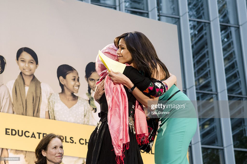 Freida Pinto and Shabana Basij-Rasikh speaks during the Girl Rising: A Rally for Girls and Women screening at The World Bank on April 18, 2013 in Washington, DC.