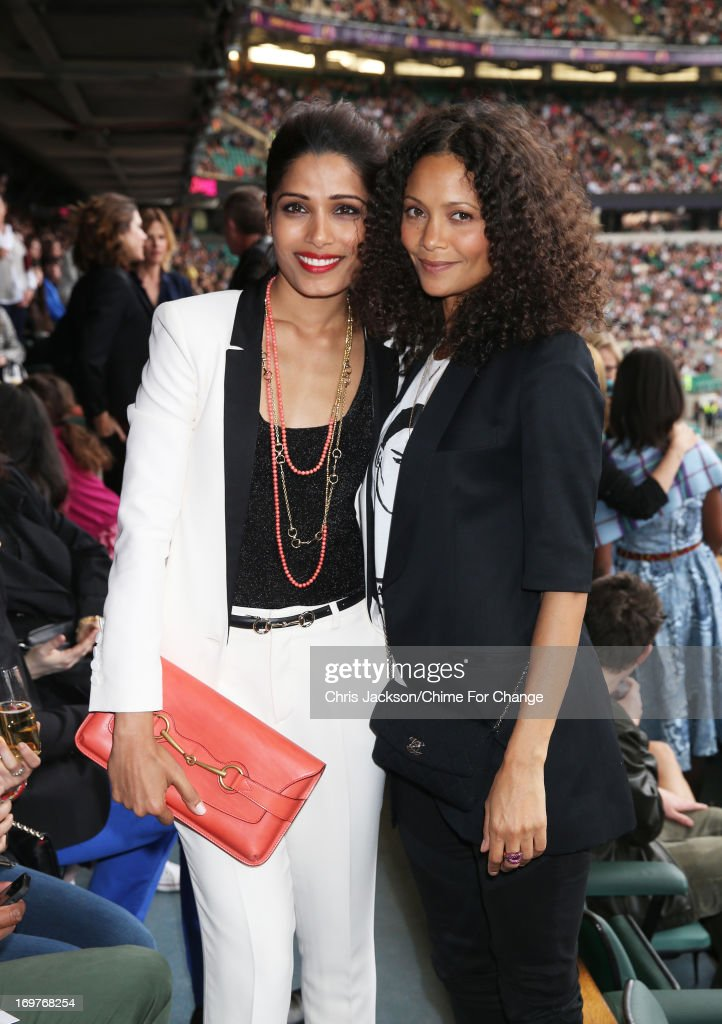 Freida Pinto and Thandie Newton pose inside the Royal Box at the 'Chime For Change The Sound Of Change Live' Concert at Twickenham Stadium on June 1...