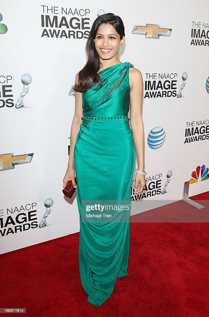 Freida Pinto arrives at the 44th NAACP Image Awards held at The Shrine Auditorium on February 1, 2013 in Los Angeles, California.