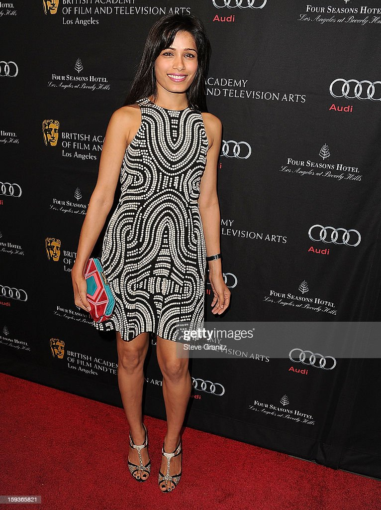 Freida Pinto arrives at the BAFTA Los Angeles 2013 Awards Season Tea Party at Four Seasons Hotel Los Angeles at Beverly Hills on January 12, 2013 in Beverly Hills, California.