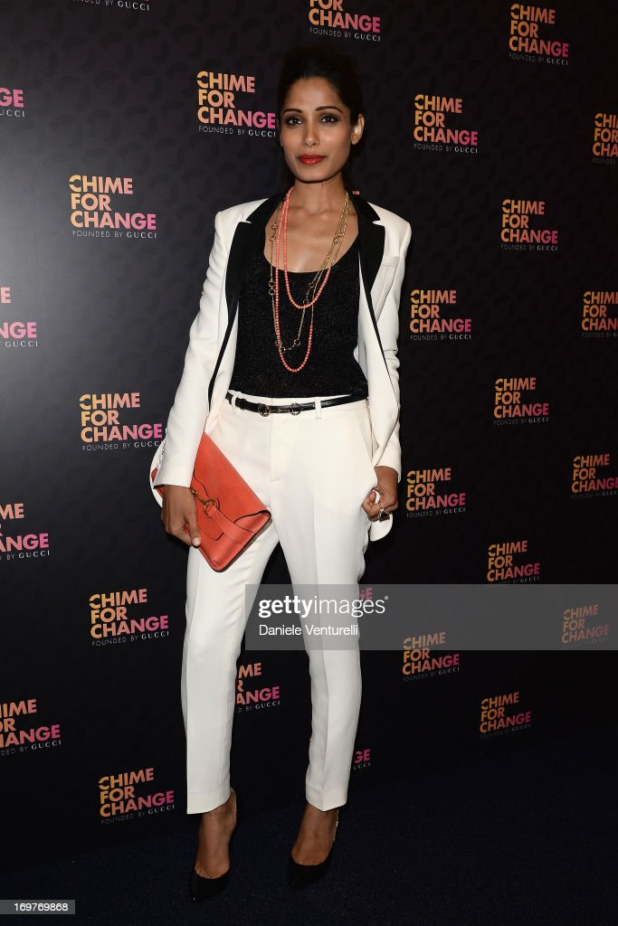 Freida Pinto arrives at the Royal Box photo wall ahead of the 'Chime For Change: The Sound Of Change Live' Concert at Twickenham Stadium on June 1, 2013 in London, England. Chime For Change is a global campaign for girls' and women's empowerment founded by Gucci with a founding committee comprised of Gucci Creative Director Frida Giannini, Salma Hayek Pinault and Beyonce Knowles-Carter.