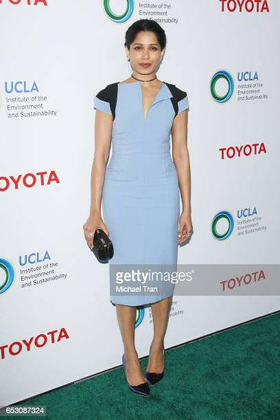 Freida Pinto arrives at the UCLA Institute of The Environment and Sustainability celebrates innovators for a healthy planet held at a private...
