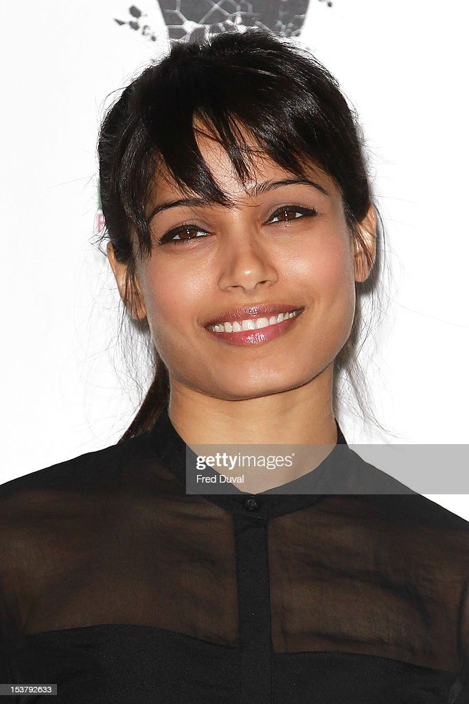 Freida Pinto attends a photocall for 'Desert Dancer' at Sadler's Wells Theatre on October 9, 2012 in London, England.