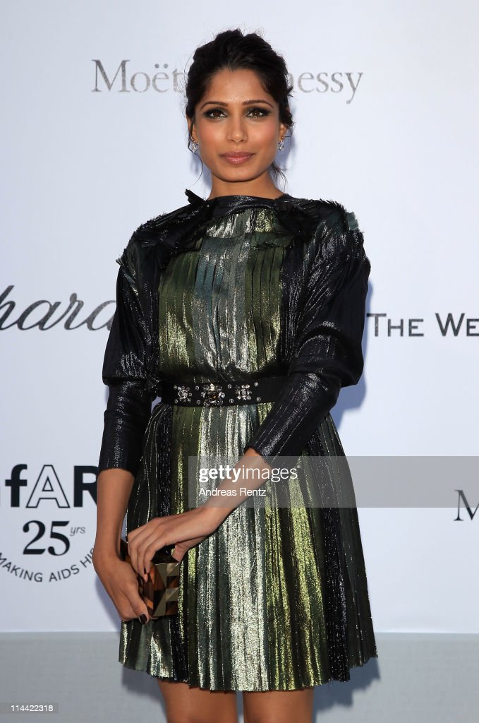 Freida Pinto attends amfAR's Cinema Against AIDS Gala during the 64th Annual Cannes Film Festival at Hotel Du Cap on May 19, 2011 in Antibes, France.