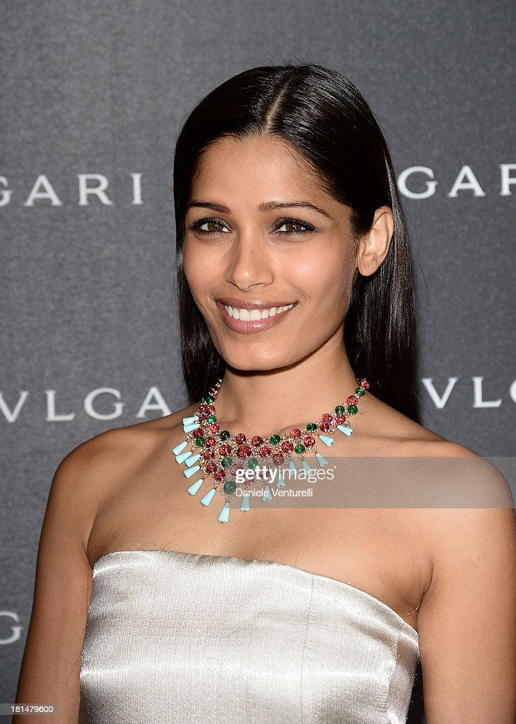 <a gi-track='captionPersonalityLinkClicked' href=/galleries/search?phrase=Freida+Pinto&family=editorial&specificpeople=5518973 ng-click='$event.stopPropagation()'>Freida Pinto</a> attends Bulgari Spring/Summer 2014 Accessories Collection at the Hotel Bulgari as a part of Milan Fashion Week Womenswear Spring/Summer 2014 on September 21, 2013 in Milan, Italy.