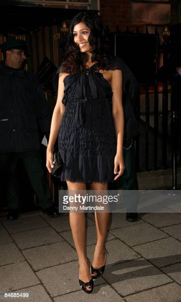 Freida Pinto attends Finch Partners' PreBAFTA Party at Annabel's on February 7 2009 in London England