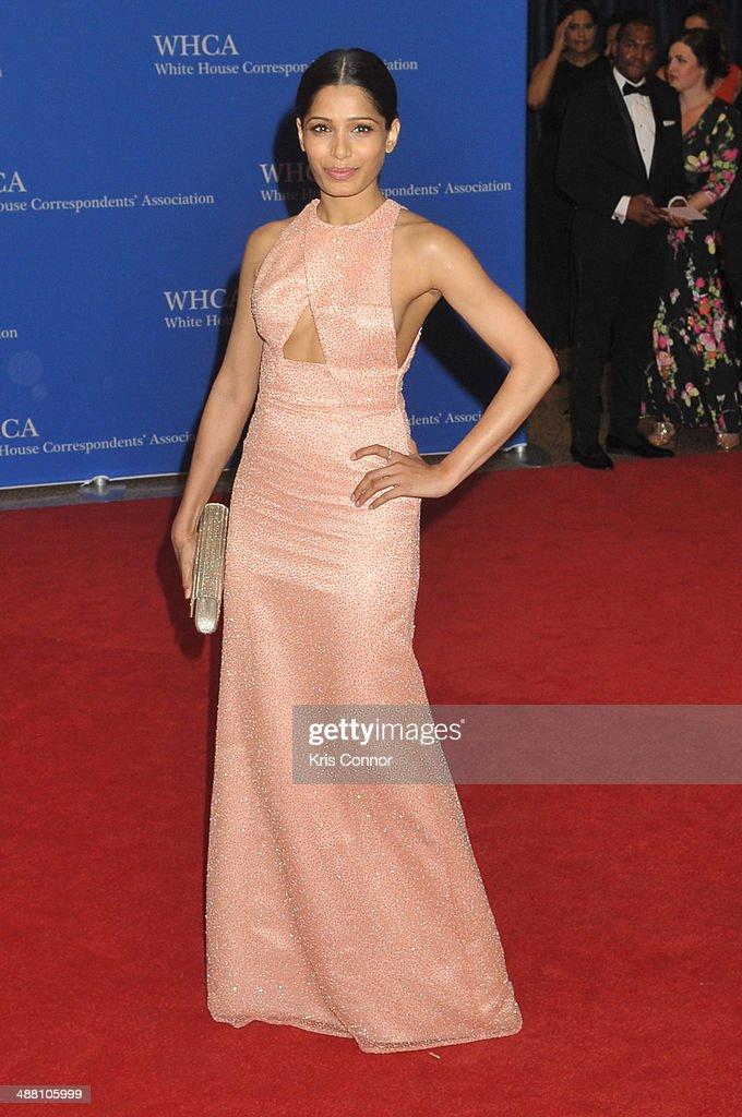 <a gi-track='captionPersonalityLinkClicked' href=/galleries/search?phrase=Freida+Pinto&family=editorial&specificpeople=5518973 ng-click='$event.stopPropagation()'>Freida Pinto</a> attends the 100th Annual White House Correspondents' Association Dinner at the Washington Hilton on May 3, 2014 in Washington, DC.