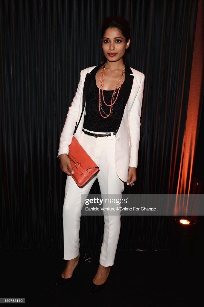 <a gi-track='captionPersonalityLinkClicked' href=/galleries/search?phrase=Freida+Pinto&family=editorial&specificpeople=5518973 ng-click='$event.stopPropagation()'>Freida Pinto</a> attends the after show party following the 'Chime For Change: The Sound Of Change Live' Concert at Twickenham Stadium on June 1, 2013 in London, England. Chime For Change is a global campaign for girls' and women's empowerment founded by Gucci with a founding committee comprised of Gucci Creative Director Frida Giannini, Salma Hayek Pinault and Beyonce Knowles-Carter.
