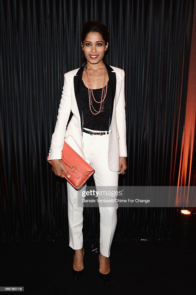 Freida Pinto attends the after show party following the 'Chime For Change: The Sound Of Change Live' Concert at Twickenham Stadium on June 1, 2013 in London, England. Chime For Change is a global campaign for girls' and women's empowerment founded by Gucci with a founding committee comprised of Gucci Creative Director Frida Giannini, Salma Hayek Pinault and Beyonce Knowles-Carter.