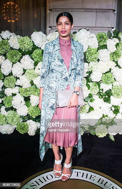 Freida Pinto attends the #BoF500 Gala Dinner during London Fashion Week Spring/Summer collections 2016/2017 on September 19 2016 in London United...