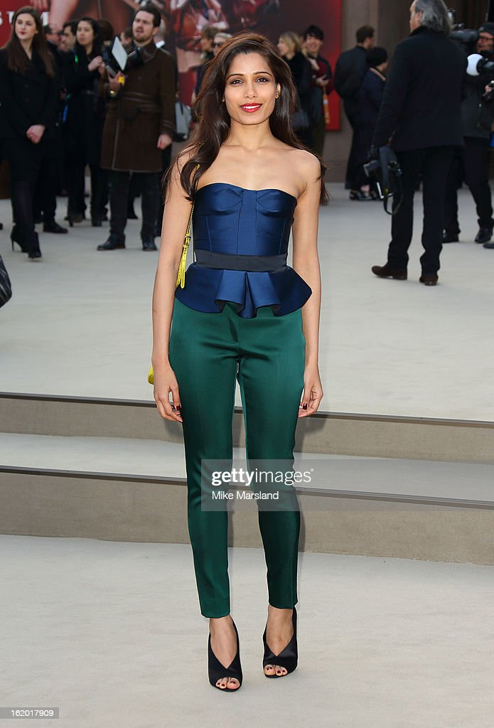 Freida Pinto attends the Burberry Prorsum show during London Fashion Week Fall/Winter 2013/14 at on February 18, 2013 in London, England.
