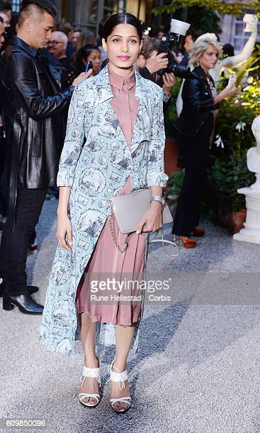 Freida Pinto attends the Burberry show during London Fashion Week Spring/ Summer 2017 on September 19 2016 in London United Kingdom