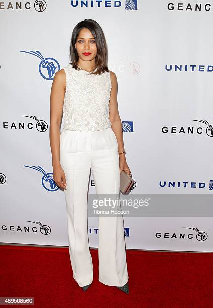 Freida Pinto attends The GEANCO Foundation's Impact Africa Hollywood fundraiser at Sunset Gower Studios on September 21 2015 in Hollywood California