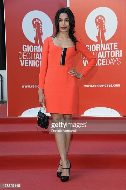 Freida Pinto attends the 'Miu Miu Women's Tale' Premiere during the 70th Venice International Film Festival at Sala Darsena on August 29 2013 in...