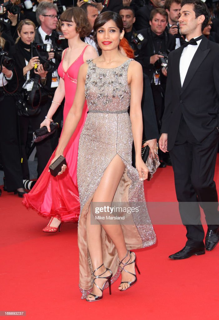 Freida Pinto attends the Premiere of 'Jeune Jolie' at The 66th Annual Cannes Film Festival at Palais des Festivals on May 16 2013 in Cannes France