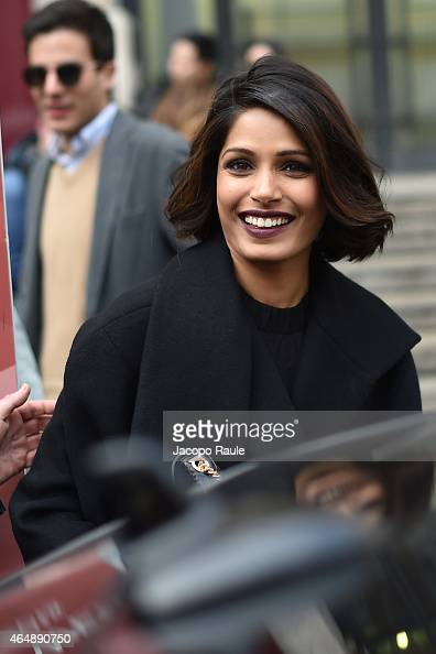 Freida Pinto attends the Salvatore Ferragamo show during the Milan Fashion Week Autumn/Winter 2015 on March 1 2015 in Milan Italy