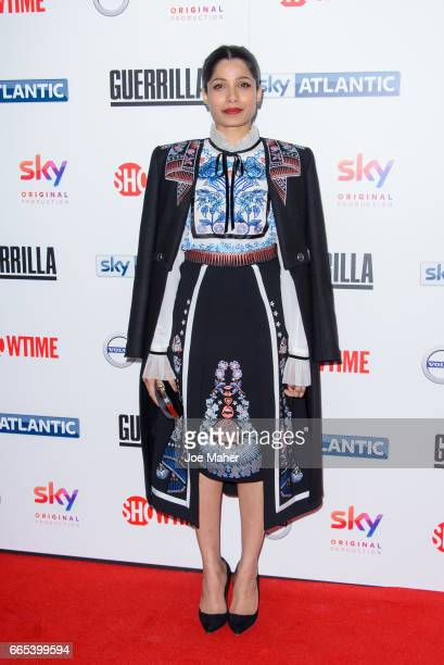 Freida Pinto attends the UK Premiere of 'Guerrilla' at The Curzon Bloomsbury on April 6 2017 in London England